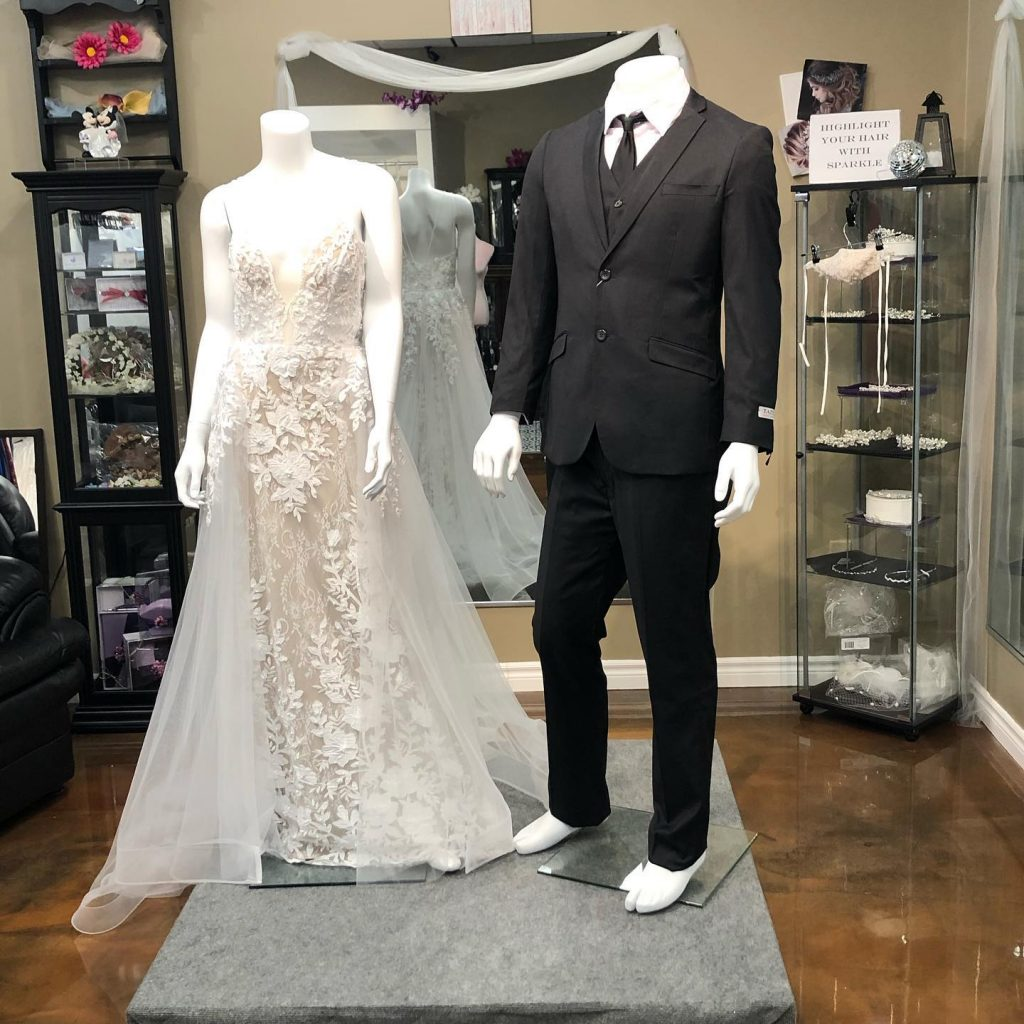 Off the rack Gowns and Men's Suits